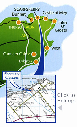 Location of Shormary Cottage - Self Catering Holiday Cottage - Scarfskerry, Caithness, Highlands, Scotland